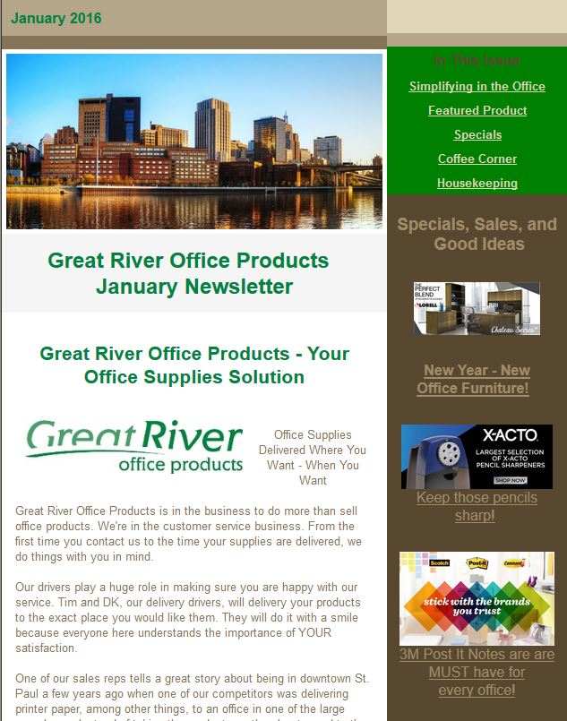 Ordinaire Newsletters | Great River Office Products